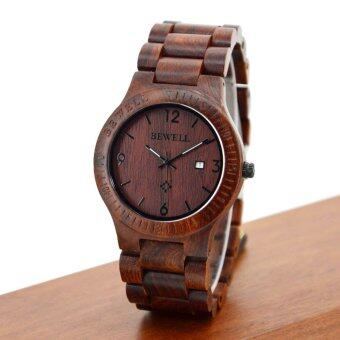 Harga BEWELL High-quality Brand Fashion Wood Quartz Watch Water-resistant Luminous Men Women Red Sandalwood Wooden Casual Wristwatch with Calendar