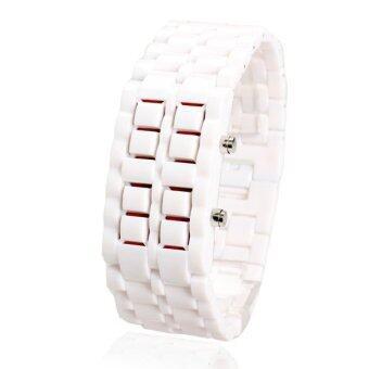 นาฬิกาข้อมือ Led แบบพลาสติกลาวานาฬิกาคลาสสิกเป็นกระเทย (ขาว)