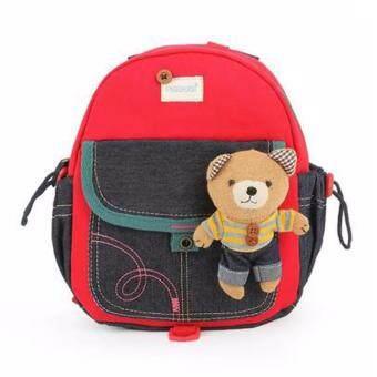 TravelGear24 กระเป๋าเป้ กระเป๋าสะพาย กระเป๋าเป้เด็ก กระเป๋านักเรียน กระเป๋าหมี School Bag Children Backpack (Red/สีแดง)