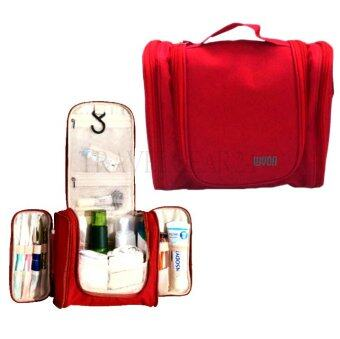 TravelGear24 Travel Check Bag กระเป๋าจัดระเบียบ กระเป๋าจัดเก็บอุปกรณ์ในห้องน้ำ กระเป๋าเครื่องสำอาง แบบมีด้านข้าง Travel Toiletry Bag Cosmetic Makeup Storage (สีแดง)