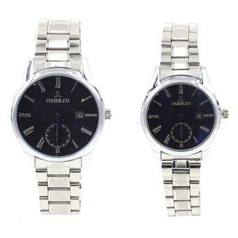 OSHRZO Date Quartz นาฬิกาข้อมือคู่รัก มีระบบวันที่ - 9126-8085 (Silver/ Black)