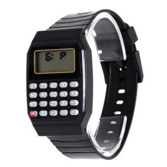 แฟชั่นเด็กซิลิโคนวันที่อเนกประสงค์เครื่องคิดเลขนาฬิกาข้อมือเด็กสีดำ