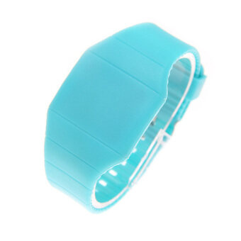 2016 LED ซิลิโคน SmartBand ดิจิตอลนาฬิกาข้อมือนาฬิกาสปอร์ตสำหรับผู้หญิงผู้ชาย (ฟ้าอ่อน)