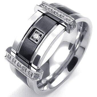 บุรุษลูกบาศก์ Zirconia แหวนแต่งงานหรูหราสเตนเลสสายเวทย์สีดำเงิน