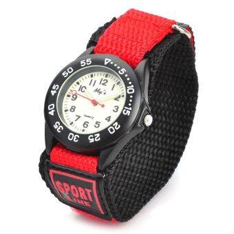 นาฬิกาข้อมือกีฬาสำหรับเด็กแบบควอทซ์อะนาล็อก - สีแดง + ดำ