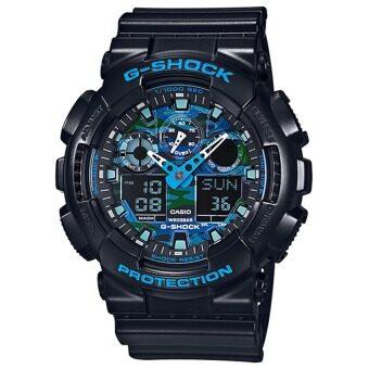 Casio G-Shock นาฬิกาข้อมือผู้ชาย สีดำ สายเรซิ่น รุ่น GA-100CB-1