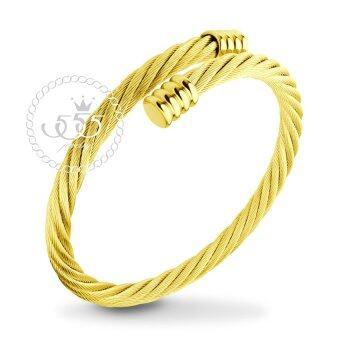 555jewelry กำไลข้อมือลาย Twisted rope สี ทอง รุ่น MNC-BG251-B - กำไลข้อมือเรียบ ดีไซน์ไขว้ สแตนเลสสตีล (BG6)