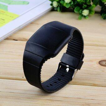 Led ดิจิตอลหน้าจอสัมผัสเพศ...นาฬิกาขนาดเล็กนาฬิกาข้อมือพลาสติกเยลลี่ (สีดำ)