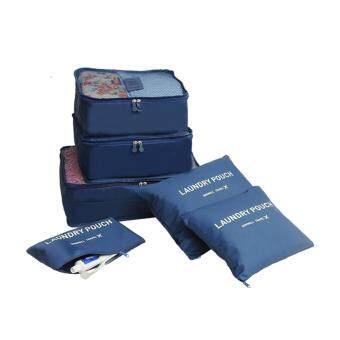 Travel กระเป๋าจัดระเบียบเสื้อผ้าสำหรับเดินทาง 6 ชิ้น Travel Organizers Packing Pouches Set 6 Pieces (สีน้ำเงิน/Navy) (Blue)(Blue)