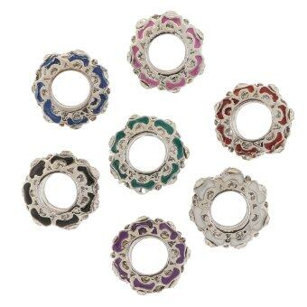 Harga 7Pcs Crystal Multicolor Spacer Beads Charms DIY Bracelet Jewelry Findings - intl