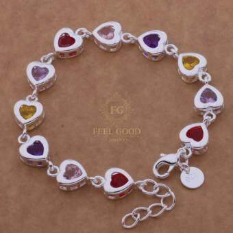 Feel Good Jewelry สร้อยข้อมือเงินแท้ 925 ประดับด้วยเพชรสวิส CZ หลากสี รูปหัวใจ รุ่น FG-J012W