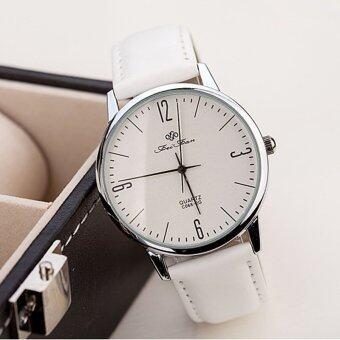 แฟชั่นล้ำ ๆ หญิงชายเมินหนังนาฬิกาข้อมือนาฬิกาควอทซ์ (ขาว)