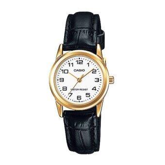 Casio standard Lady นาฬิกาข้อมือผู้หญิง สีดำ/สีขาว สายหนัง รุ่น LTP-V001GL-7BUDF
