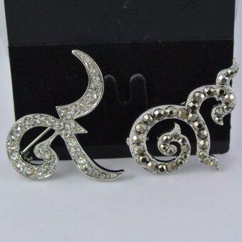 Pearl Jewelry เข็มกลัดไว้อาลัย 9 มงคล คู่เงิน แมกกาไซด์ 901