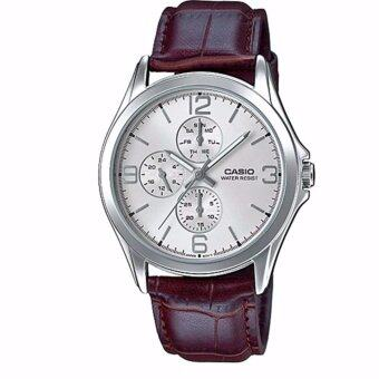 Casio Standard นาฬิกาข้อมือผู้ชาย สายหนัง สีน้ำตาล รุ่น MTP-V301L-7AUDF