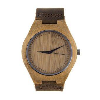 Allwin ลักไม้ไผ่ของชายหญิงหนัง Pu นาฬิกาข้อมือนาฬิกาควอทซ์