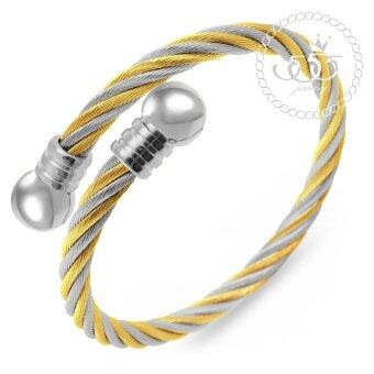 555jewelry กำไล สแตนเลสสตีล ลายเกลียว รุ่น MNC-BG236-B2 (สี ทอง/สตีล)