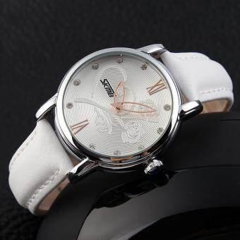 นาฬิกา SKMEI แบรนด์ชั้นนำ Relogio Feminino กันน้ำเพชรหนังแฟชั่นสำหรับผู้หญิงข้อมือดอกกุหลาบสีขาว