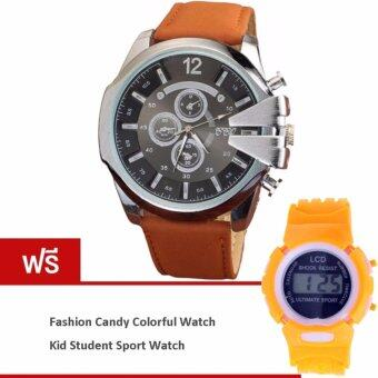 MEGA Luxury Quartz Waterproof Leather Watchband Outdoor Fashion Sport Watch หรูหรานาฬิกาข้อมือ สายหนัง กันน้ำ รุ่น MG0018 (Silver/Brown) (ฟรี Fashion Candy Colorful Kid Student Sport Watch Orange)