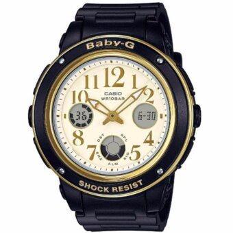CASIO Baby-G นาฬิกาข้อมือผู้หญิง สีดำ/ทอง สายเรซิน รุ่น BGA-151EF-1BDR