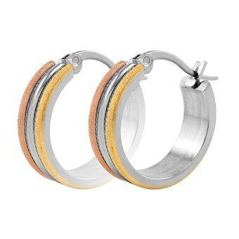 555jewelry ต่างหูห่วงสแตนเลสสตีลขนาดพอเหมาะ (สี - สตีล/ทอง/พิ้งโกลด์) รุ่น MNC-ER102-MT2