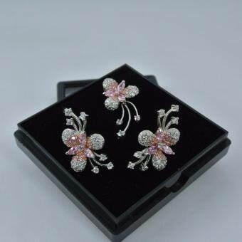 Pearl Jewelry ต่างหู และจี้ ชุดดอกไม้ งานเงินแท้