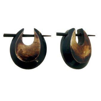 555jewelry ต่างหูห่วง จากเขาสัตว์ ก้านเสียบ สีน้ำตาลดำ รุ่น BS375B