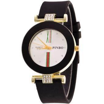MEGA Luxury Casual Crystal Silicone Jelly Quartz Watch คริสตัล ซิลิโคนหรูหราแฟชั่นนาฬิกาข้อมือผู้หญิง รุ่น MG0029 (Black)