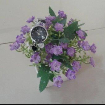 นาฬิกาข้อมือสไตล์เกาหลีสีดำ