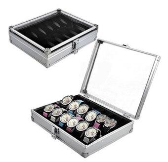 Cassablu กล่องนาฬิกา กล่องเก็บนาฬิกาข้อมือ กล่องใส่นาฬิกาอลูมิเนียม 12 เรือน ฝากระจก กล่องใส่เครื่องประดับ