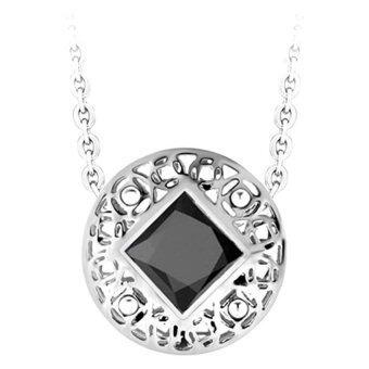 555jewelry จี้วงกลมสองเลเยอร์ประดับด้วย CZ เม็ดใหญ่สีดำ รุ่น MNC-P093-D สี Steel