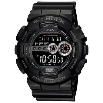 Casio G-Shock นาฬิกาข้อมือผู้ชาย สีดำ สายเรซิ่น รุ่น GD-100-1B