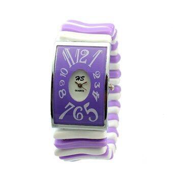 HS นาฬิกาข้อมือผู้หญิง สีม่วง สายยางยืด