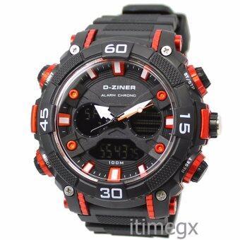 D-ZINER นาฬิกาข้อมือผู้ชาย สายซิลิโคนรุ่น DZ-8073 (ดำ/แดง)