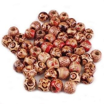 Harga Fancytoy 100pcs 10mm Mixed Wood Round Beads Jewelry Making Loose Spacer Findings- - intl