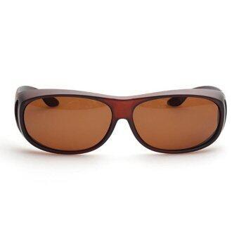 แว่นกันแดด สวมทับแว่นสายตาได้ Fit Over Polarized Sunglasses (สีน้ำตาล/เลนส์น้ำตาล)