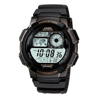 Casio Standard นาฬิกาข้อมือผู้ชาย สีดำ/เทา สายเรซิ่น รุ่น AE-1000W-1AVDF