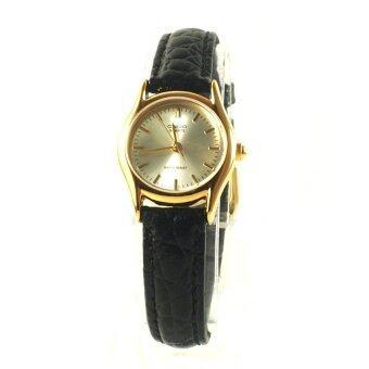 Casio Standard นาฬิกาข้อมือผู้หญิง - สีเงิน สายหนังสีดำ รุ่น LTP-1094Q-7A