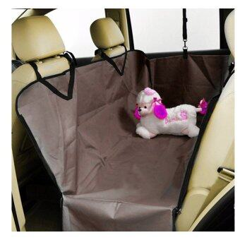 Pet Car Seat แผ่นรองกันเปื้อนในรถยนต์ แบบคลุมเต็มเบาะหลัง กันเปื้อนได้รอบทิศทั้ง 4 ด้าน สำหรับสุนัข (สีน้ำตาลเข้ม.)