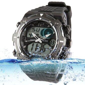 กีฬานาฬิกากันน้ำด้วยสแตนเลสฝาครอบด้านหลัง (สีดำ)