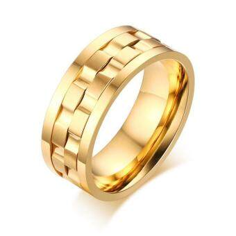 Harga Fashion Personality 18K Gold Plated Titanium Steel Rotatable Ring Sportsman Jewelry Size:6-13 - intl