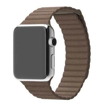 หนังแท้เข็มขัดรัดสายนาฬิกาคล้องแม่เหล็กสำหรับ Apple Watch 42มม b