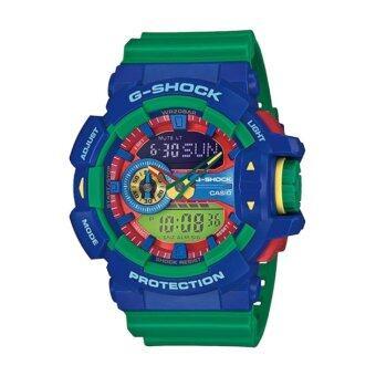Casio G-Shock นาฬิกาข้อมือผู้ชาย สีน้ำเงิน/เขียว สายเรซิ่น รุ่น GA-400-2A