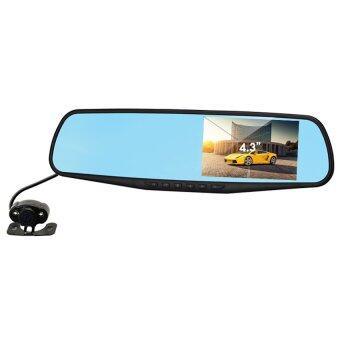 YINGYING กล้องติดรถยนต์ รูปทรงกระจกมองหลัง Full HD 1080P พร้อมกล้องถอยหลัง (สีดำ)