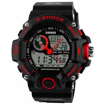 SKMEI นาฬิกาข้อมือแฟชั่น ผู้ชาย ดิจิตอล รุ่น 1029 สีแดง Sport Fashion Waterproof LED Digital Analog Men Watch - Red
