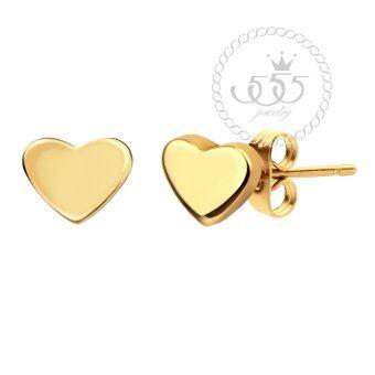 555Jewelry ต่างหูก้านเสียบรูปหัวใจรุ่น MNC-ER471-B - สี Yellow Gold