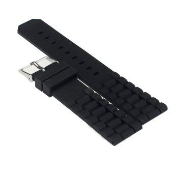 Harga Mens Black Silicone Rubber Diver Watch Band Strap(20mm)