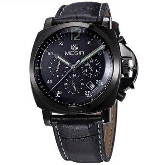 ชายเสื้อยี่ห้อ Megir นาฬิกาโครโนกราฟนาฬิกาหรูหนังทหาร (สีดำ)