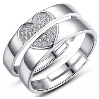 Harga Wedding Band Couple Rings S925 Silver Material 1 x Men's Ring + 1 xWomen's Ring (Intl)