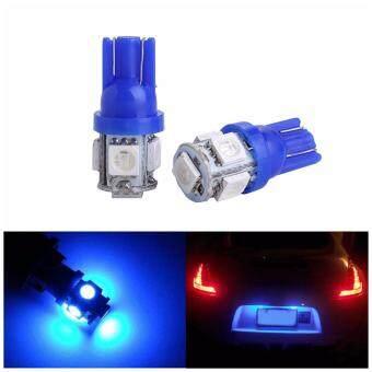 LED หลอด ไฟหรี่ ไฟส่องป้ายทะเบียนรถ T10 แสงสีน้ำเงิน 2 ชิ้น